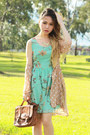 Aquamarine-love-dress-peach-polka-dot-no-brand-blazer-dark-brown-vintage-bag