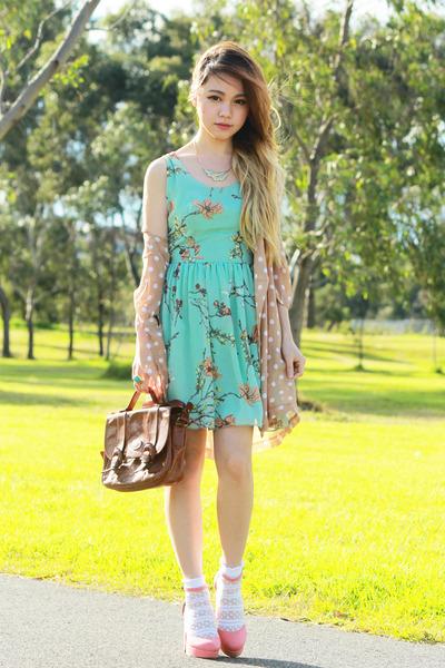 peach polka dot no brand blazer - aquamarine Love dress - dark brown vintage bag