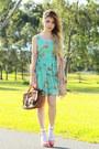 Aquamarine-love-dress-peach-polka-dot-no-brand-blazer-dark-brown-vintage-bag