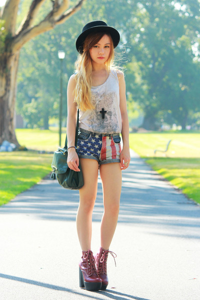 Jeffrey Campbell boots - asos hat - Topshop shorts - beige Topshop top