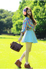 Dark-brown-vintage-bag-light-blue-american-apparel-skirt