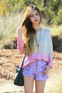 Light-purple-pastel-minkpink-shorts-light-pink-galatin-jeffrey-campbell-boots