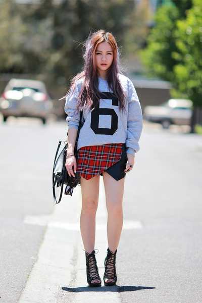 tartan plaid Missguided shorts - Sheinside top