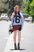 tartan plaid Missguided shorts - Sheinside top