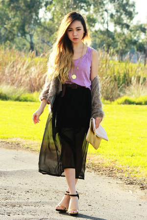 black Sheinside skirt - gold Ruby and Riley necklace - black Zara heels