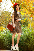 tawny bag - neutral shoes - red hat - H & M ring
