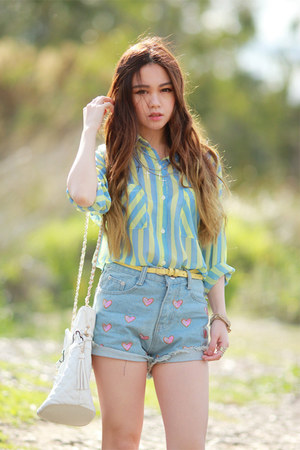 aquamarine mint romwe blouse - white quilted Choies bag - denim romwe shorts