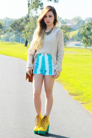 aquamarine Motel Rocks shorts - yellow Jeffrey Campbell boots