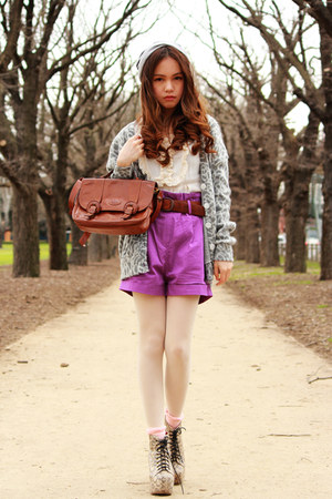 lita Jeffrey Campbell boots - FCUK hat - no brand tights - vintage bag