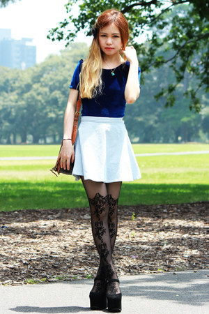 navy American Apparel top - asos tights - light blue American Apparel skirt