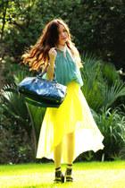 polka dots scarf - teal Prada bag - Tiffany & Co bracelet - turquoise blue top -