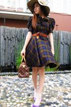 nude bardot hat - purple alex & alex shoes - red Louis Vuitton bag
