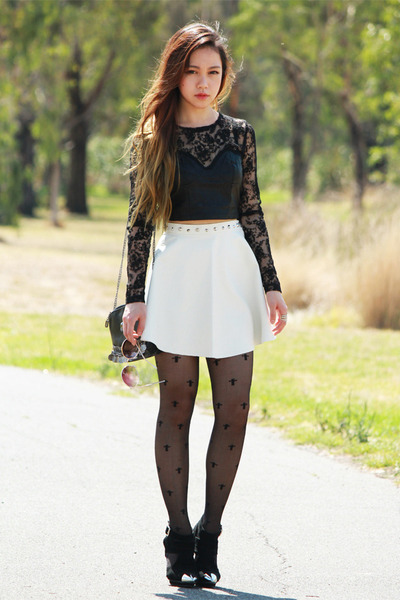 lace Motel Rocks top - Jeffrey Campbell shoes - leather white Motel Rocks skirt