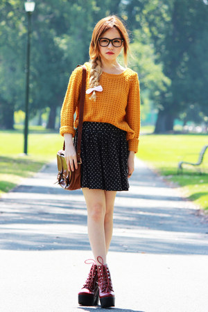 mustard Roxy sweater - ruby red Jeffrey Campbell boots - dark brown vintage bag
