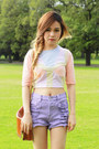 Nude-asos-top-light-blue-monki-shoes-light-purple-minkpink-shorts