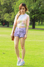 Light-blue-monki-shoes-light-purple-minkpink-shorts-nude-asos-top