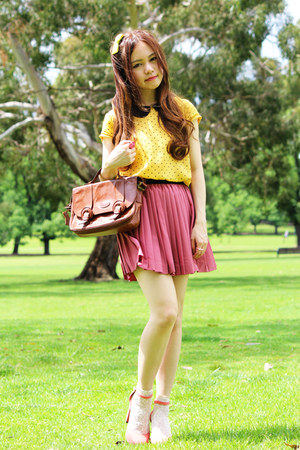 bubble gum H&M skirt - ivory asos socks - yellow H&M blouse