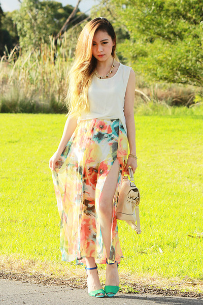 orange Koogul skirt - cream romwe bag - Zara heels - ivory Koogul top