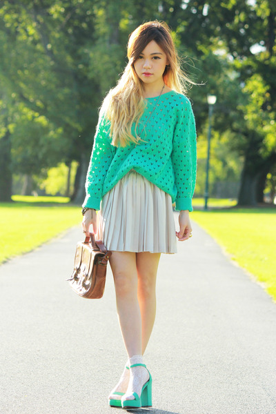 aquamarine no brand sweater - dark brown vintage bag - aquamarine no brand heels