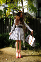 dark gray stripes Monki dress - dark gray stripes bag - carrot orange stripes so