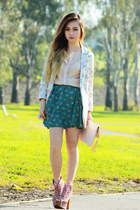 turquoise blue OASAP skirt - Jeffrey Campbell boots - light pink Fascue blazer