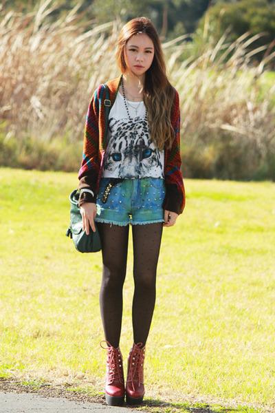 ivory tiger romwe top - brick red tardy Jeffrey Campbell boots