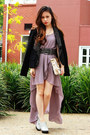Light-purple-love-dress-mimco-bag-dark-gray-zara-belt