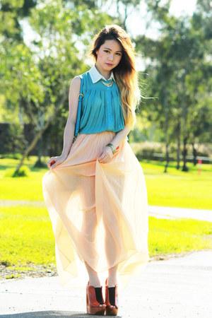 peach Love skirt - turquoise blue Miu Miu bag - Jeffrey Campbell wedges