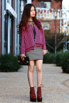 brick red Jeffrey Campbell boots - hot pink stripes blazer - crimson vintage fro