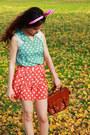 Dark-brown-leather-bonia-bag-salmon-pants-salmon-heels-turquoise-blue-top-