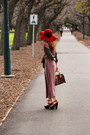 Ruby-red-sportsgirl-hat-louis-vuitton-bag-tawny-topshop-heels-pink-trench-