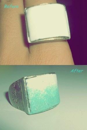 bubble gum necklace - aquamarine ring