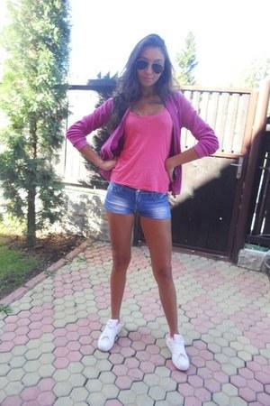 hot pink Yamamay blouse - white adidas shoes - salmon Sprider shirt