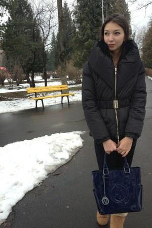 blue Armani Jeans bag - black Elisabetta Franchi jacket - black tezenis leggings