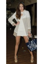 white tight Mango dress - tan sandro ferrone coat