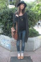 gray vintage from retrocity hat - gray Zara cardigan - blue Zara jeans - black Z