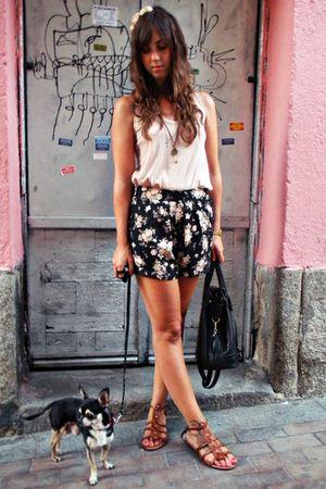 pink Oysho t-shirt - brown maripaz shoes - black vintage bag