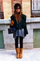 dark brown vintage hat - forest green Zara jacket - gray hm sweater - black hm j