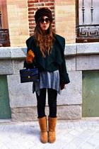 dark brown vintage hat - forest green Zara jacket - gray hm sweater - black hm j