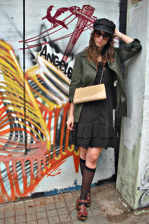 black Zara dress - army green Zara blazer - cream vintage purse - crimson Zara c