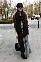 black hazel boots - black vintage from miss vintage hat - brown vintage jacket -