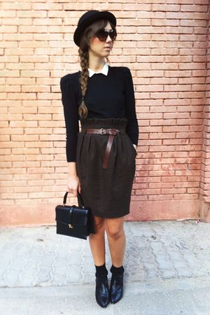 black Zara sweater - brown hm skirt - black vintage bag - black hm shoes