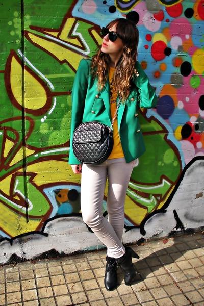 black hm shoes - heather gray Zara jeans - green Zara blazer - yellow vintage sh