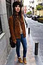 dark brown vintage hat - camel Zara sweater - burnt orange vintage jacket - blue