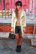 black vintage shorts - camel vintage coat - camel Zara cardigan - black Zara boo