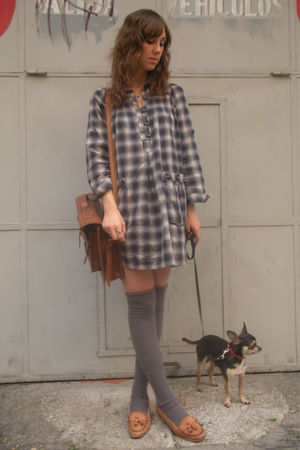 gray hm dress - brown vintage accessories - brown Zara shoes - gray Calcedonia s