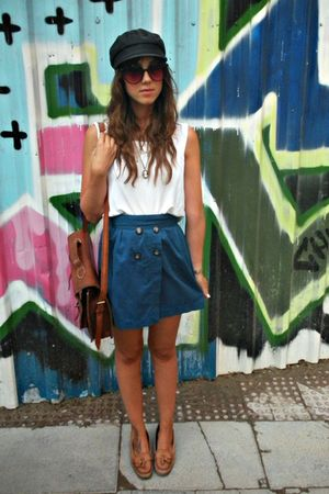 blue Zara skirt - white hm t-shirt - brown Zara shoes - black vintage hat - brow