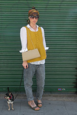 yellow hm vest - white Zara shirt - gray vintage from my mothers closet jeans -