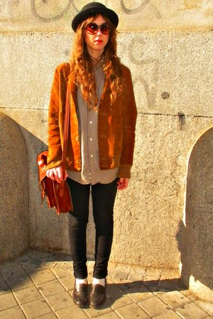 burnt orange vintage jacket - dark brown Zara shirt - black hm jeans - dark brow