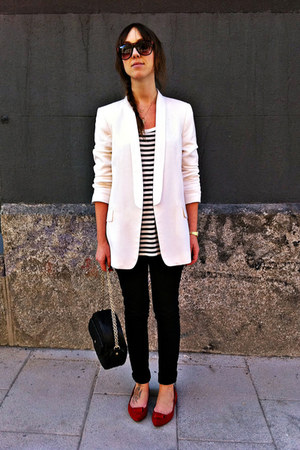 black hm jeans - white Zara blazer - white stripes Oysho shirt - black Mango bag